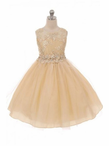 Good Girl 3592 Champagne Floral Bodice w/ Illusion Neckline and Tulle Skirt