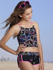 Gossip Girl Black/Multi Colored All About Heart 2PC Tankini