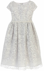 Sweet Kids SK726 Gray Luxe Embroidered Mesh w/ Pearl Trim Dress