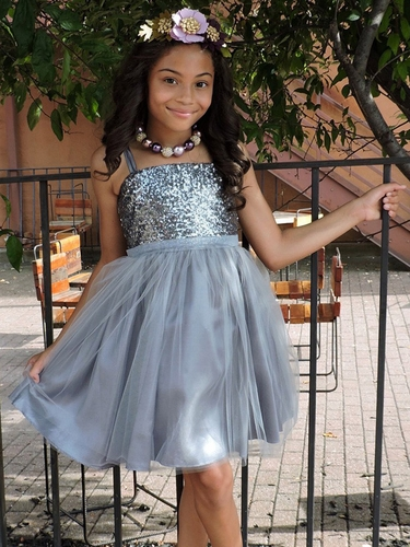Grey Sequined Bodice w/ Tulle Skirt & Sash