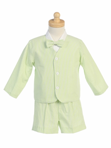 Green Boys Striped Seersucker Eton & Shorts