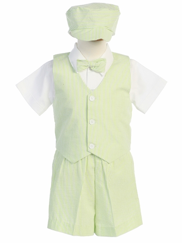Green Boys Striped Seersucker Vest w/ Shorts