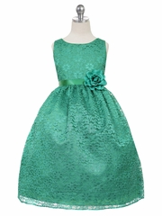 CLEARANCE - Green Floral Lace Dress