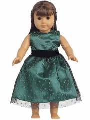 Green Glitter Tulle 18� Doll Dress