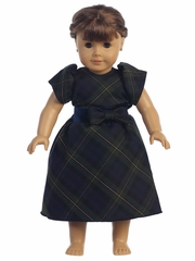 "Swea Pea & Lilli Green Plaid 18"" Doll Dress"