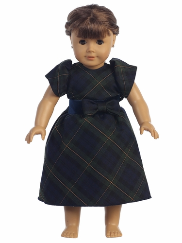 "Green Plaid 18"" Doll Dress"