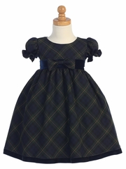 Swea Pea & Lilli Green Plaid Baby Dress w/ Velvet Trim