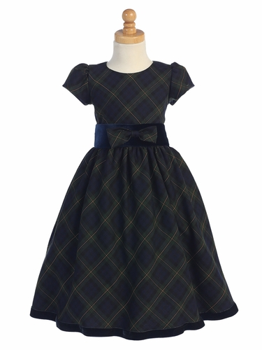 Green Plaid Girls Dress w/ Velvet Trim