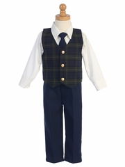Swea Pea & Lilli Green Plaid Vest w/ Navy Pants