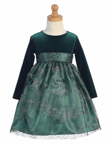 Green Stretch Velvet Dress w/ Sparkle Tulle Skirt