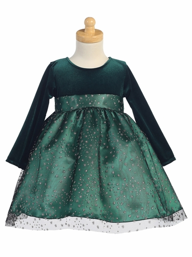 Green Stretch Velvet w/ Glitter Tulle