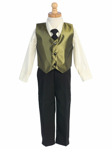 Green Taffeta Vest & Pant Set