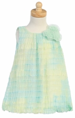 Green Tie Dye Ruffled Tulle Baby Doll Dress