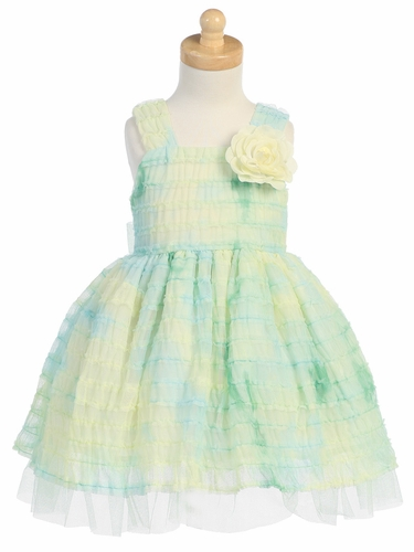 Green Tie Die Ruffled Tulle Dress