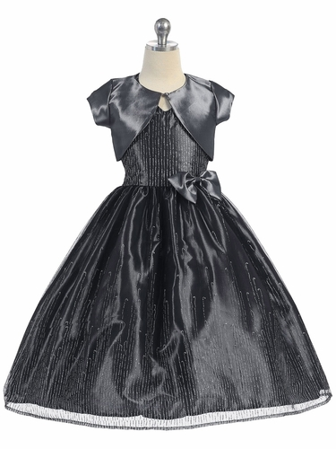 Gray & Black Polyester Glitter Mesh Dress w/ Bolero