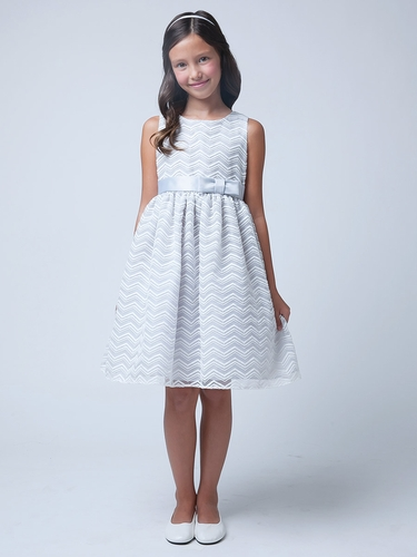 Gray Chevron Organza Dress