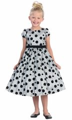 Gray Flocked Polka-Dot Taffeta Dress w/Sleeves