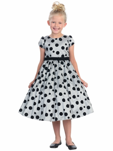 Grey Flocked Polka-Dot Taffeta Dress w/Sleeves