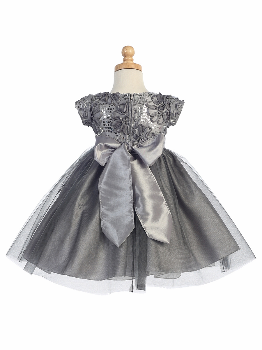 Grey Floral Tulle Bodice W Tulle Skirt