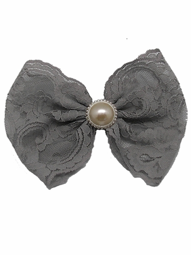 Grey Lace Bow w/ Pearl Clip
