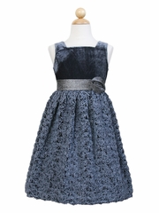 Gray Rosette Dress w/ Velvet Bodice