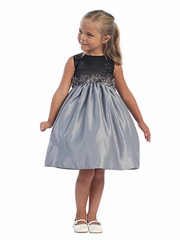 Gray Satin Dress w/ Black Bodice