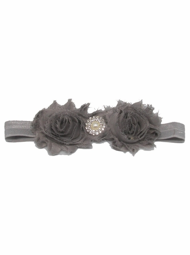 Grey Shabby Rose & Pearl Stone Headband