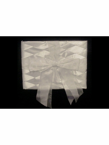 Guest Album w/ Ivory Organza Bow & Criss Cross Pattern