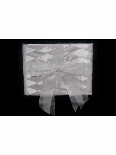 Guest Album w/ White Organza Bow & Criss Cross Pattern