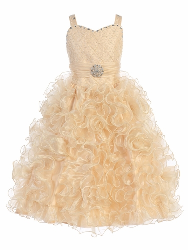 Gwen and Zoe Champagne Beaded Sweetheart Bodice w/ Ruffled Organza Dress