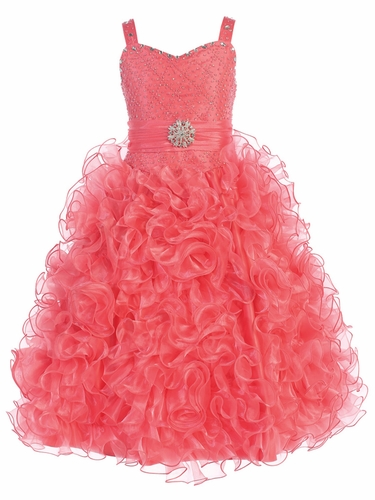 Gwen and Zoe Coral Beaded Sweetheart Bodice w/ Ruffled Organza Dress