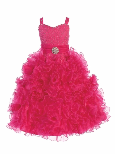 Gwen and Zoe Fuchsia Beaded Sweetheart Bodice w/ Ruffled Organza Dress