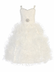 Gwen and Zoe Ivory Beaded Sweetheart Bodice w/ Ruffled Organza Dress