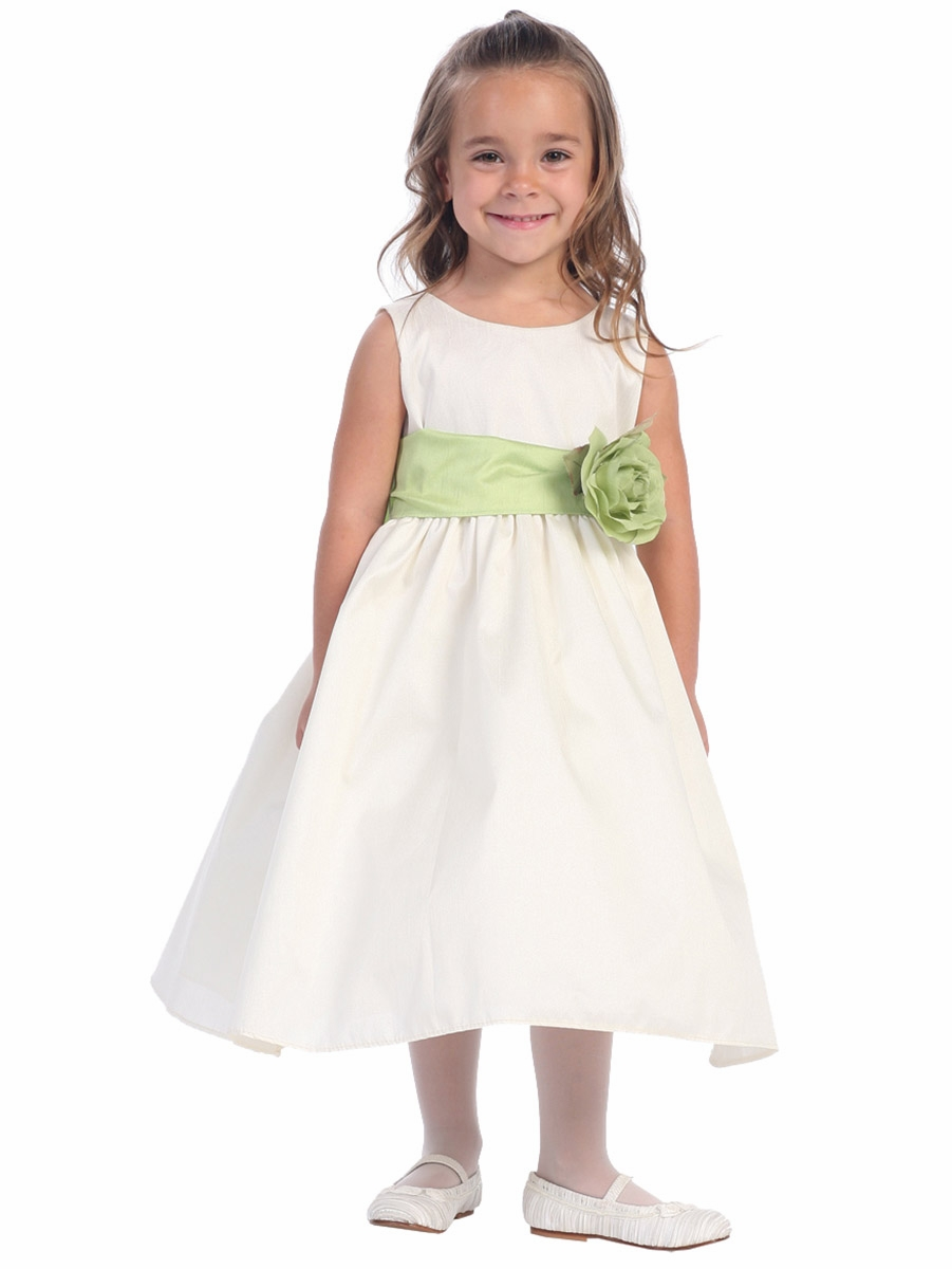 94edd29f2a9 ... Ivory Polyester Dupioni Dress w  Detachable Sash   Flower. Click to  Enlarge ...