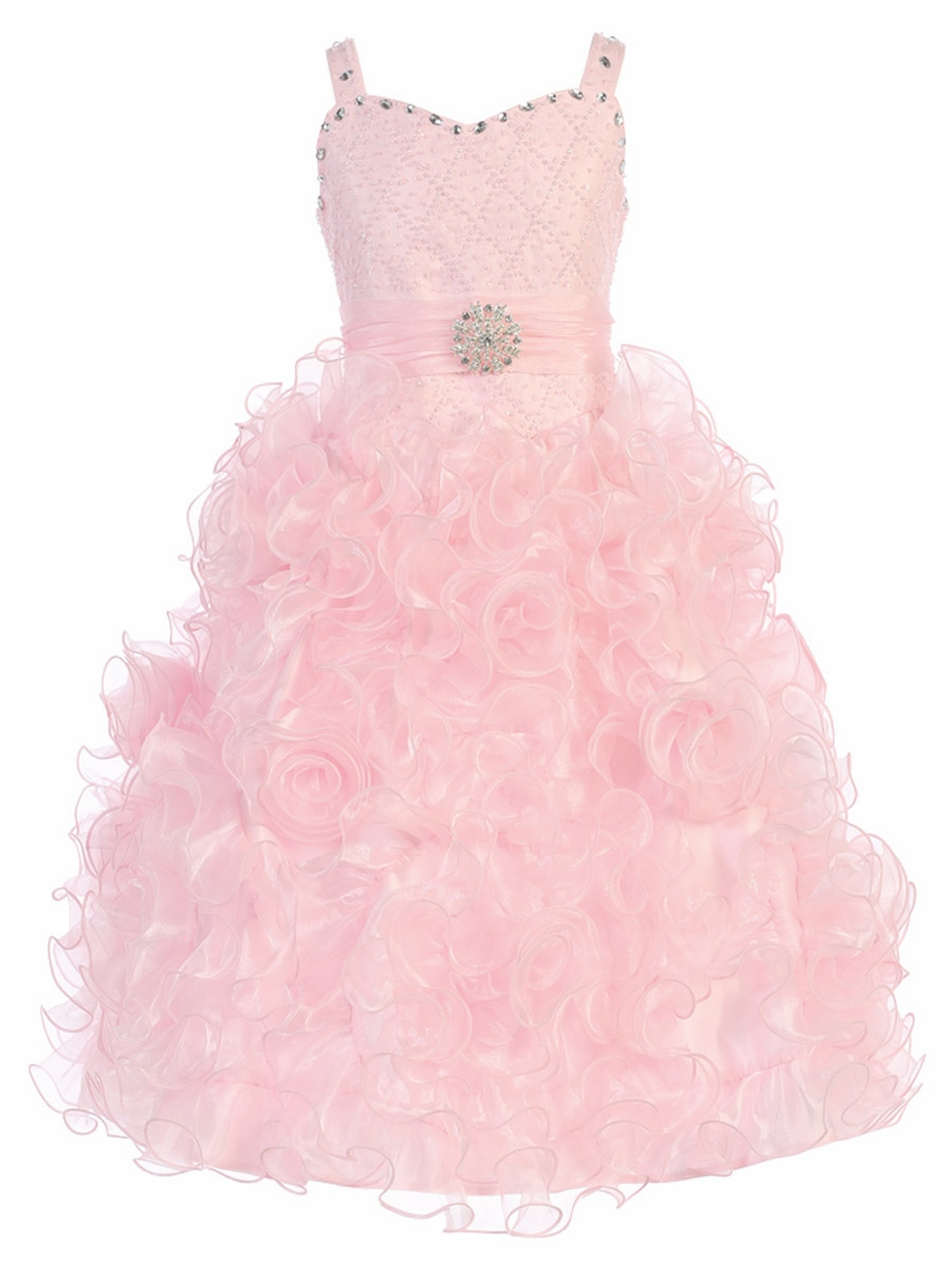 Ruffled Organza Skirt With Embroidered And Beaded Bodice: Gwen And Zoe Pink Beaded Sweetheart Bodice W/ Ruffled