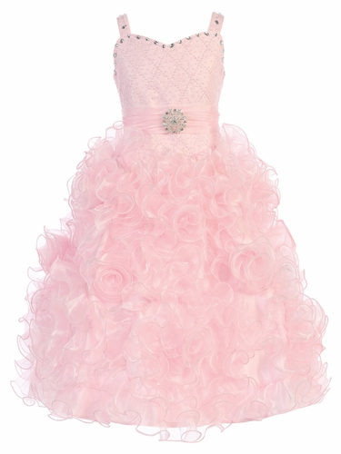 Gwen and Zoe Pink Beaded Sweetheart Bodice w/ Ruffled Organza Dress