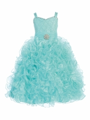 Gwen and Zoe Turquoise Beaded Sweetheart Bodice w/ Ruffled Organza Dress