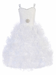 Gwen and Zoe White Beaded Sweetheart Bodice w/ Ruffled Organza Dress