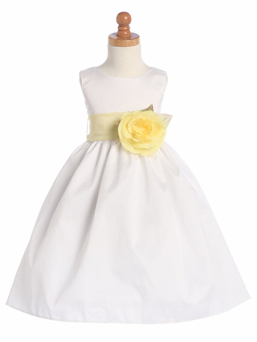 Gwen and Zoe White Polyester Dupioni Dress w/ Detachable Sash & Flower