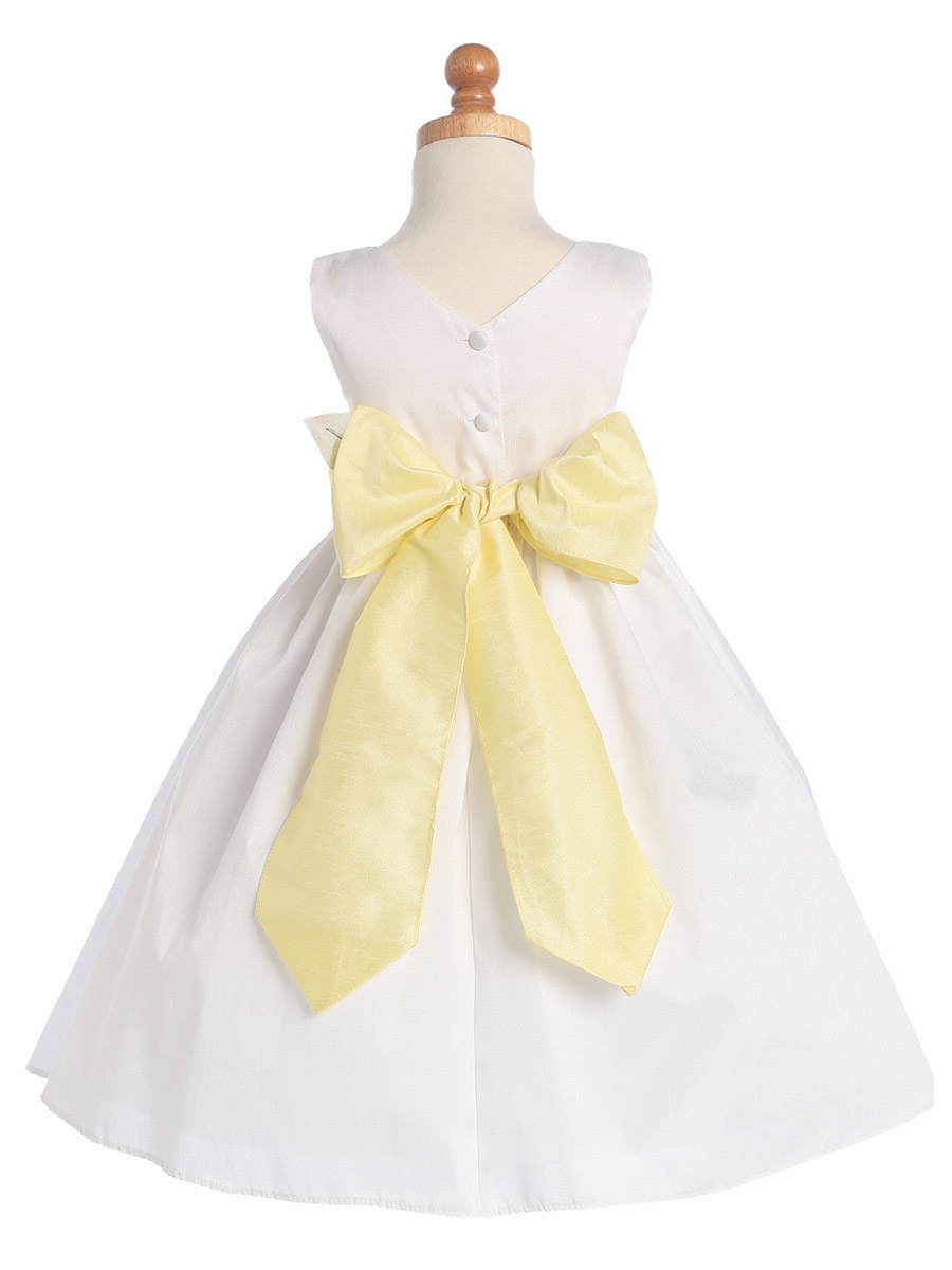 882b68b461 ... Girl Dresses   Gwen and Zoe White Polyester Dupioni Dress w  Detachable  Sash   Flower. Click to Enlarge Click to Enlarge ...
