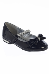 Gwen & Zoe GZ5501 Girls' Black Low Heel w/ Rhinestone Strap & Bow