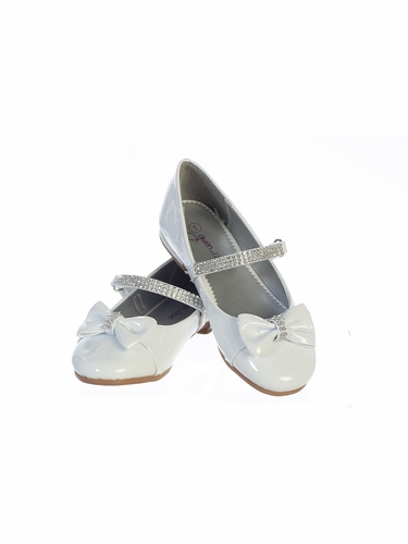 Gwen & Zoe GZ5501 Girls' White Low Heel w/ Rhinestone Strap & Bow
