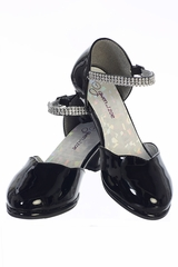 Gwen & Zoe GZ5502 Black High Heel Shoe w/ Rhinestone Strap