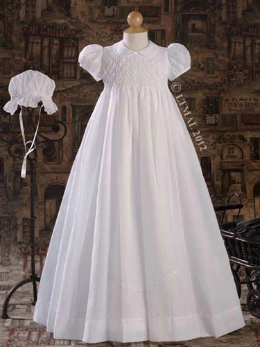 "Hand Smocked 32"" Heirloom Christening Gown"
