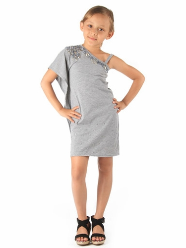 Haven Girl Grey Tiffany Dress w/ Rhinestones & Sequins