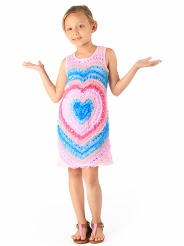 Haven Girl Light Pink Mesh Heart Soutache Dress