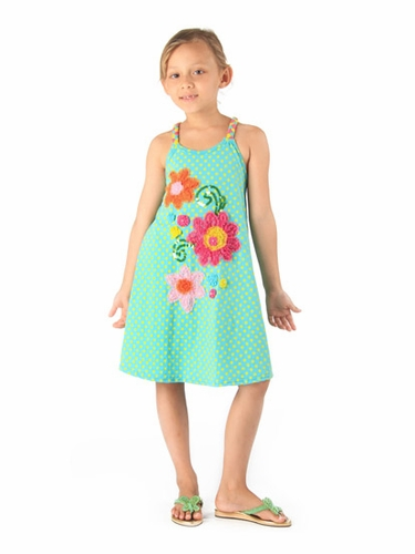 Haven Girl Mermaid Polka Dot Dress w/ Flower Embroidery