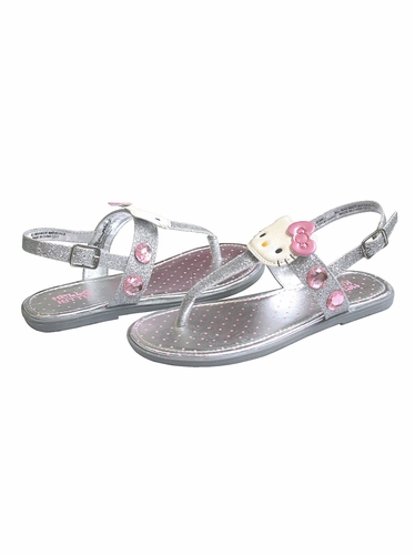 Hello Kitty Silver Glitter Jewel Sandals