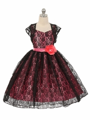 High-Low Black/Coral Floral Lace Dress w/ Matching Bolero