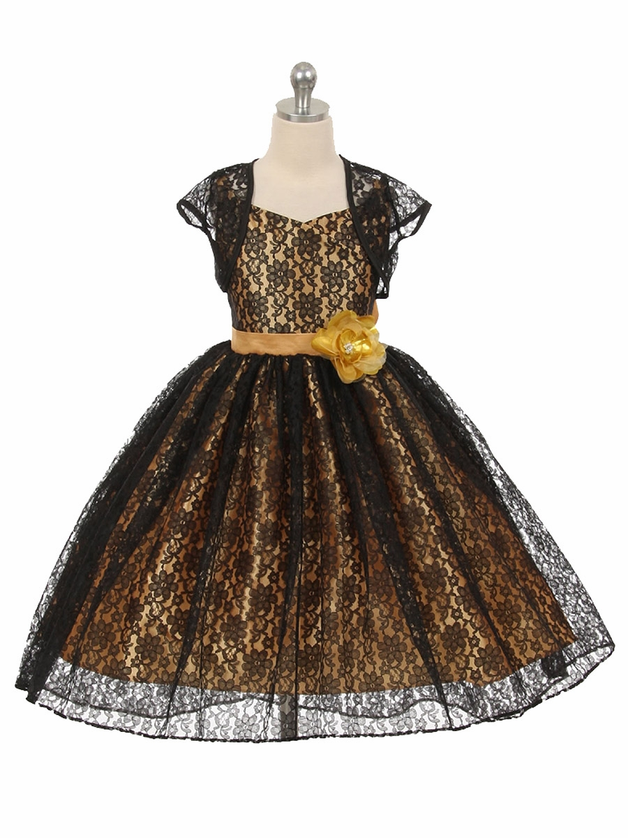 High Low Black Gold Floral Lace Dress W Matching Bolero